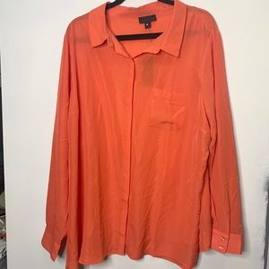Worthington sheer coral button up blouse size 3X